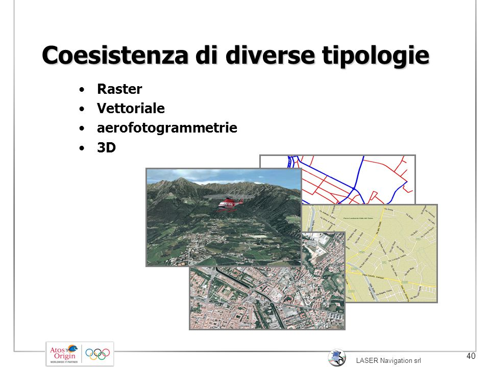 LASER Navigation srl 40 Coesistenza di diverse tipologie Raster Vettoriale aerofotogrammetrie 3D