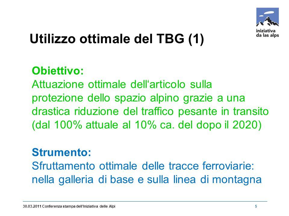 6 Utilizzo ottimale del TBG (2) 30.03.2011 Conferenza stampa dell'Iniziativa delle Alpi Rola breve con 3 treni/ora per direzione cadenza semi-oraria traffico passeggeri durante tutto il giorno)
