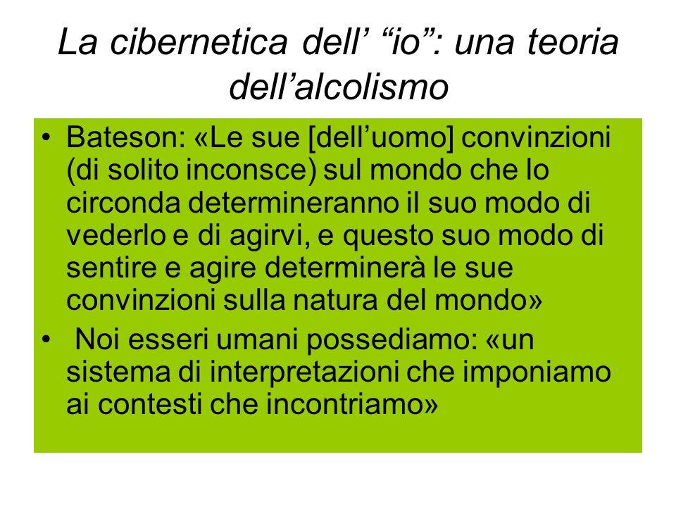 La cibernetica dell' io : una teoria dell'alcolismo Bateson: «Le sue [dell'uomo] convinzioni (di solito inconsce) sul mondo che lo circonda determineranno il suo modo di vederlo e di agirvi, e questo suo modo di sentire e agire determinerà le sue convinzioni sulla natura del mondo» Noi esseri umani possediamo: «un sistema di interpretazioni che imponiamo ai contesti che incontriamo»