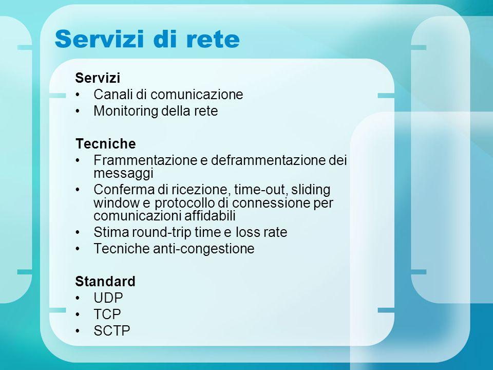 Servizi di rete Servizi Canali di comunicazione Monitoring della rete Tecniche Frammentazione e deframmentazione dei messaggi Conferma di ricezione, time-out, sliding window e protocollo di connessione per comunicazioni affidabili Stima round-trip time e loss rate Tecniche anti-congestione Standard UDP TCP SCTP