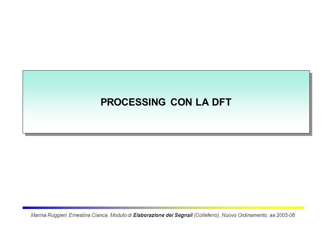 PROCESSING CON LA DFT Marina Ruggieri, Ernestina Cianca, Modulo di Elaborazione dei Segnali (Colleferro), Nuovo Ordinamento, aa 2005-06