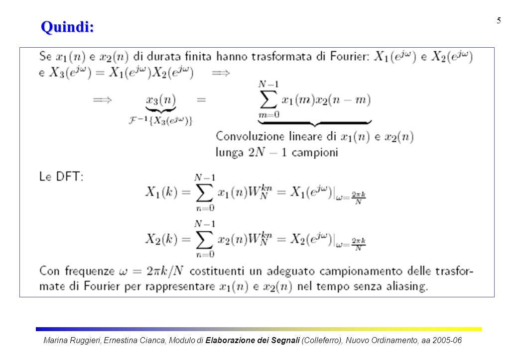 Marina Ruggieri, Ernestina Cianca, Modulo di Elaborazione dei Segnali (Colleferro), Nuovo Ordinamento, aa 2005-06 5 Quindi: