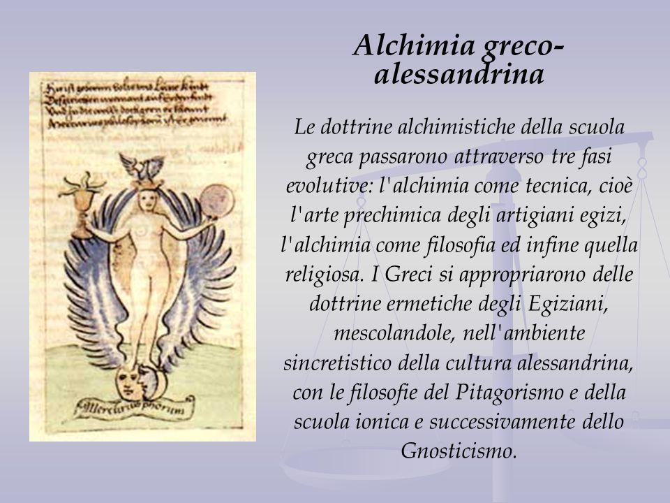 Alchimia greco- alessandrina Le dottrine alchimistiche della scuola greca passarono attraverso tre fasi evolutive: l'alchimia come tecnica, cioè l'art