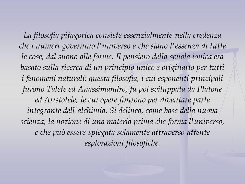 La filosofia pitagorica consiste essenzialmente nella credenza che i numeri governino l'universo e che siano l'essenza di tutte le cose, dal suono all