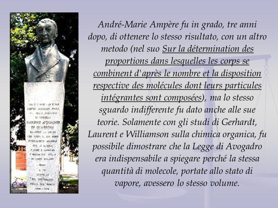 André-Marie Ampère fu in grado, tre anni dopo, di ottenere lo stesso risultato, con un altro metodo (nel suo Sur la détermination des proportions dans
