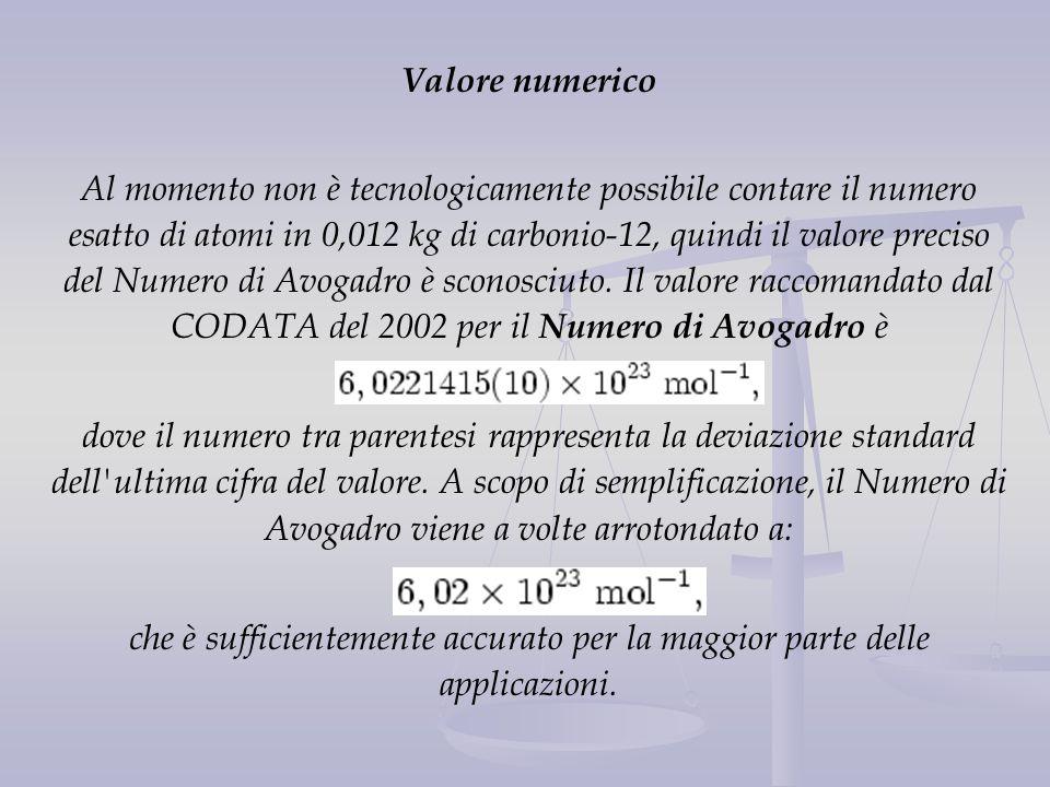 Valore numerico Al momento non è tecnologicamente possibile contare il numero esatto di atomi in 0,012 kg di carbonio-12, quindi il valore preciso del