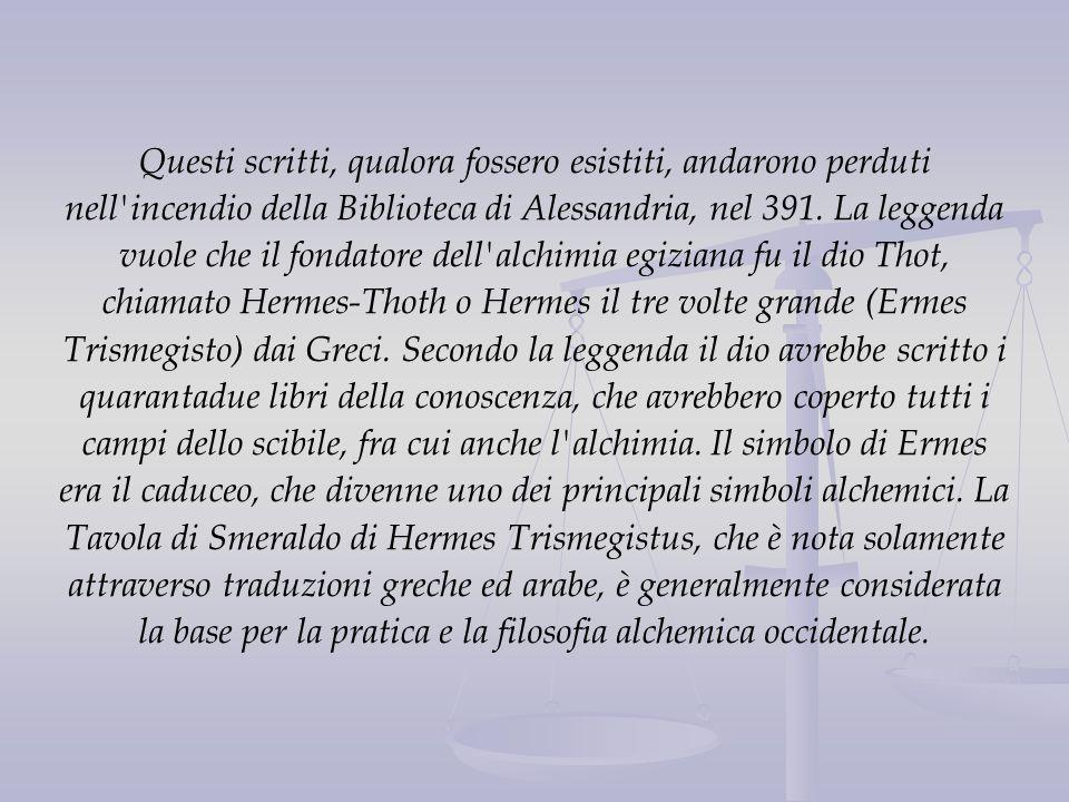 Questi scritti, qualora fossero esistiti, andarono perduti nell'incendio della Biblioteca di Alessandria, nel 391. La leggenda vuole che il fondatore