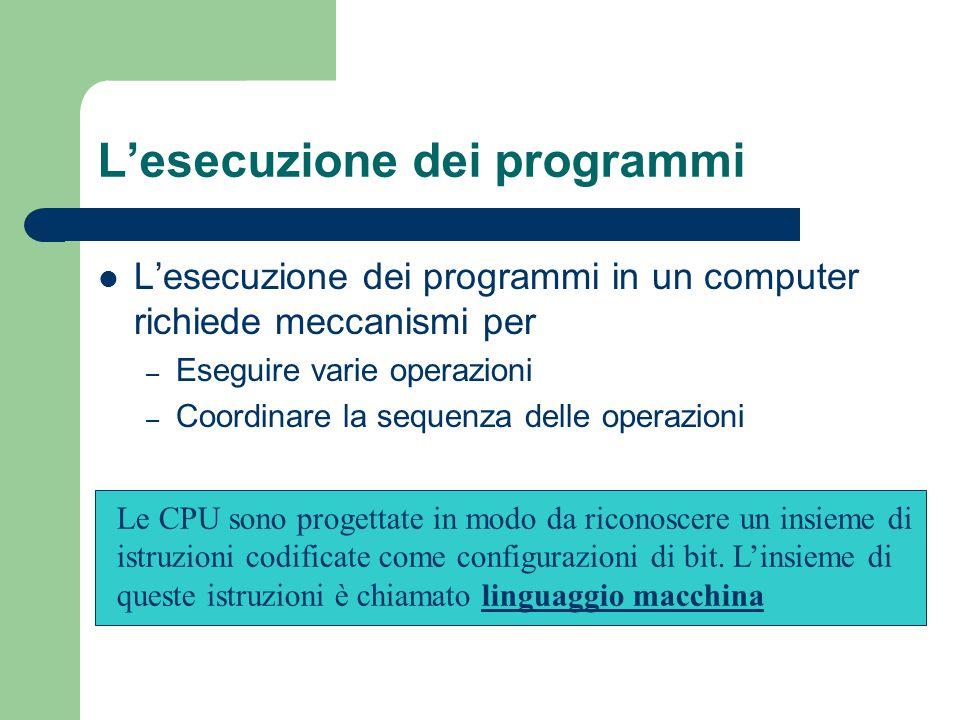 L'esecuzione dei programmi L'esecuzione dei programmi in un computer richiede meccanismi per – Eseguire varie operazioni – Coordinare la sequenza dell