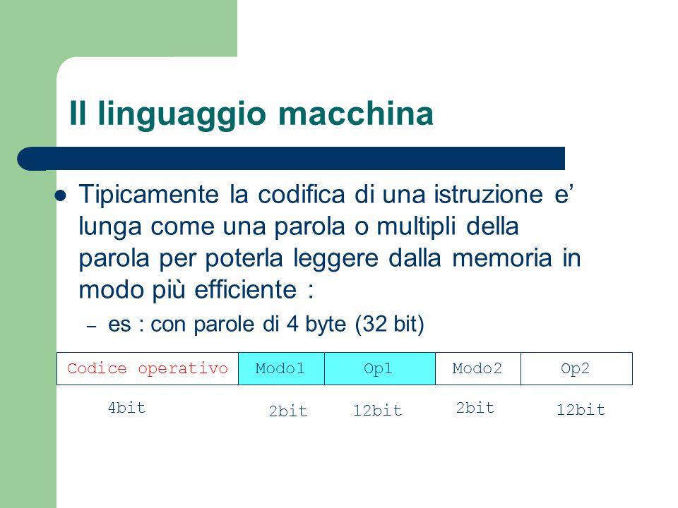 Il linguaggio macchina Tipicamente la codifica di una istruzione e' lunga come una parola o multipli della parola per poterla leggere dalla memoria in