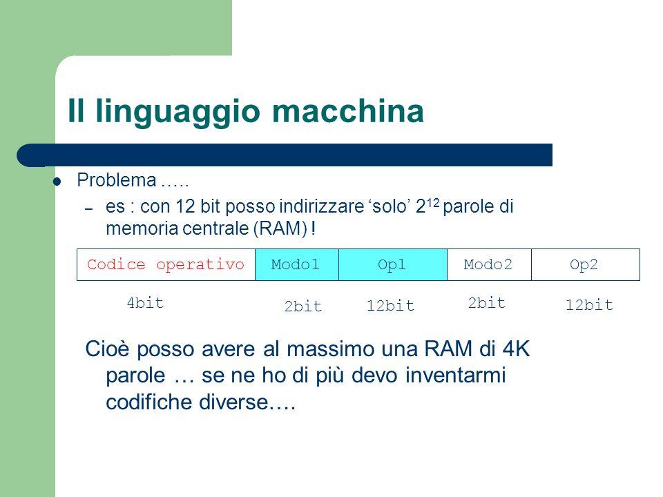 Il linguaggio macchina Problema ….. – es : con 12 bit posso indirizzare 'solo' 2 12 parole di memoria centrale (RAM) ! Cioè posso avere al massimo una