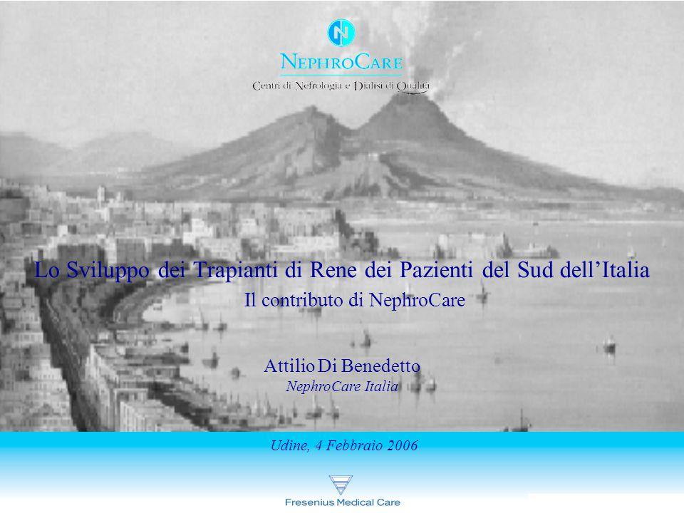 Attilio Di Benedetto 04/02/2006 Attilio Di Benedetto NephroCare Italia Lo Sviluppo dei Trapianti di Rene dei Pazienti del Sud dell'Italia Udine, 4 Febbraio 2006 Il contributo di NephroCare