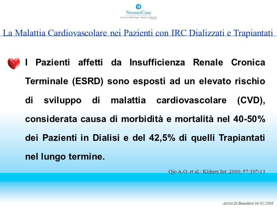 Attilio Di Benedetto 04/02/2006 I Pazienti affetti da Insufficienza Renale Cronica Terminale (ESRD) sono esposti ad un elevato rischio di sviluppo di malattia cardiovascolare (CVD), considerata causa di morbidità e mortalità nel 40-50% dei Pazienti in Dialisi e del 42,5% di quelli Trapiantati nel lungo termine.