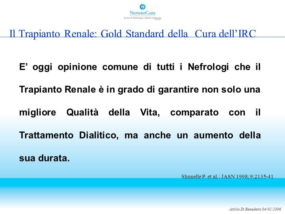 Attilio Di Benedetto 04/02/2006 Il Trapianto Renale: Gold Standard della Cura dell'IRC E' oggi opinione comune di tutti i Nefrologi che il Trapianto Renale è in grado di garantire non solo una migliore Qualità della Vita, comparato con il Trattamento Dialitico, ma anche un aumento della sua durata.