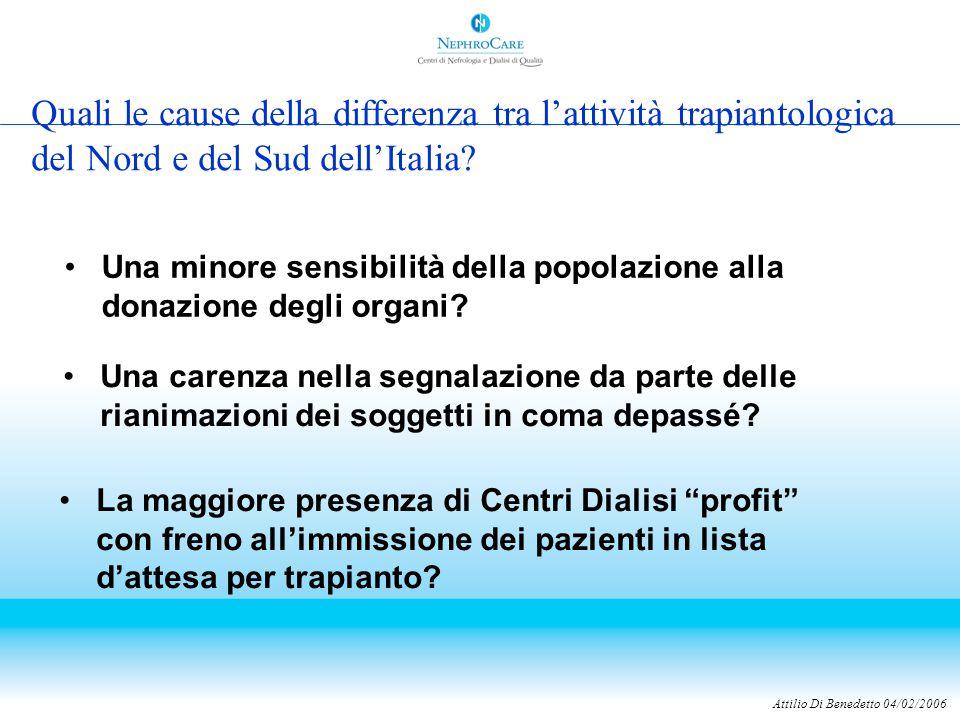 Attilio Di Benedetto 04/02/2006 Quali le cause della differenza tra l'attività trapiantologica del Nord e del Sud dell'Italia.