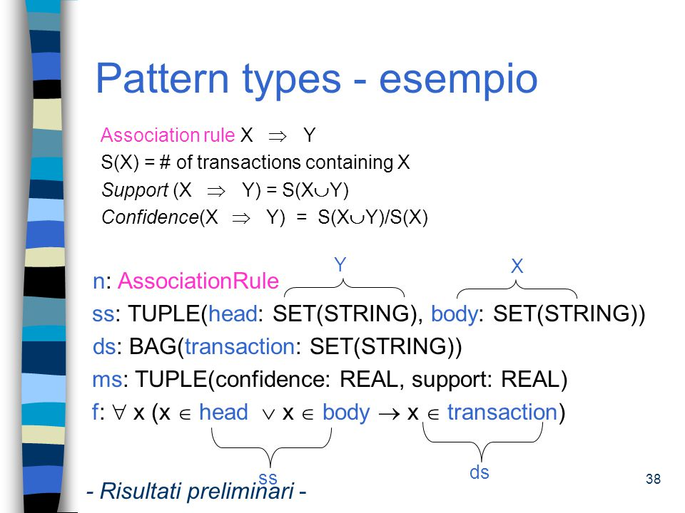 38 Pattern types - esempio Association rule X  Y S(X) = # of transactions containing X Support (X  Y) = S(X  Y) Confidence(X  Y) = S(X  Y)/S(X) n