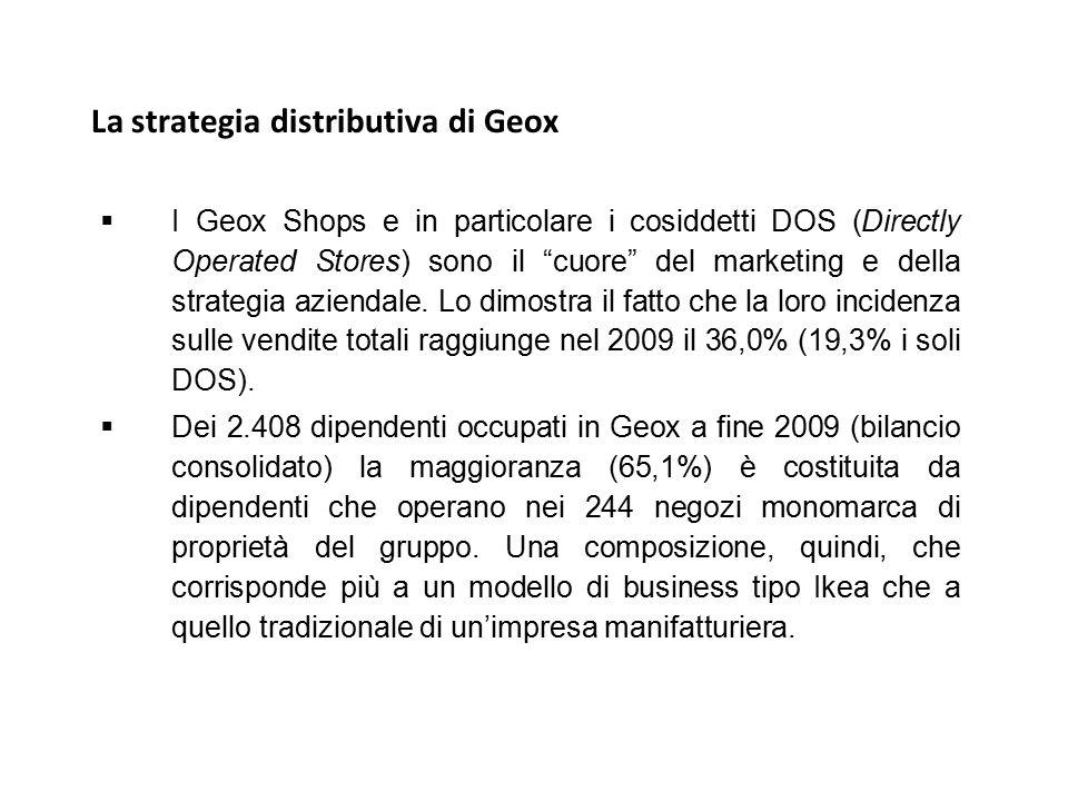 """La strategia distributiva di Geox  I Geox Shops e in particolare i cosiddetti DOS (Directly Operated Stores) sono il """"cuore"""" del marketing e della st"""