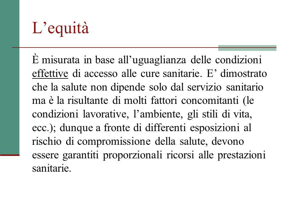 L'equità È misurata in base all'uguaglianza delle condizioni effettive di accesso alle cure sanitarie.