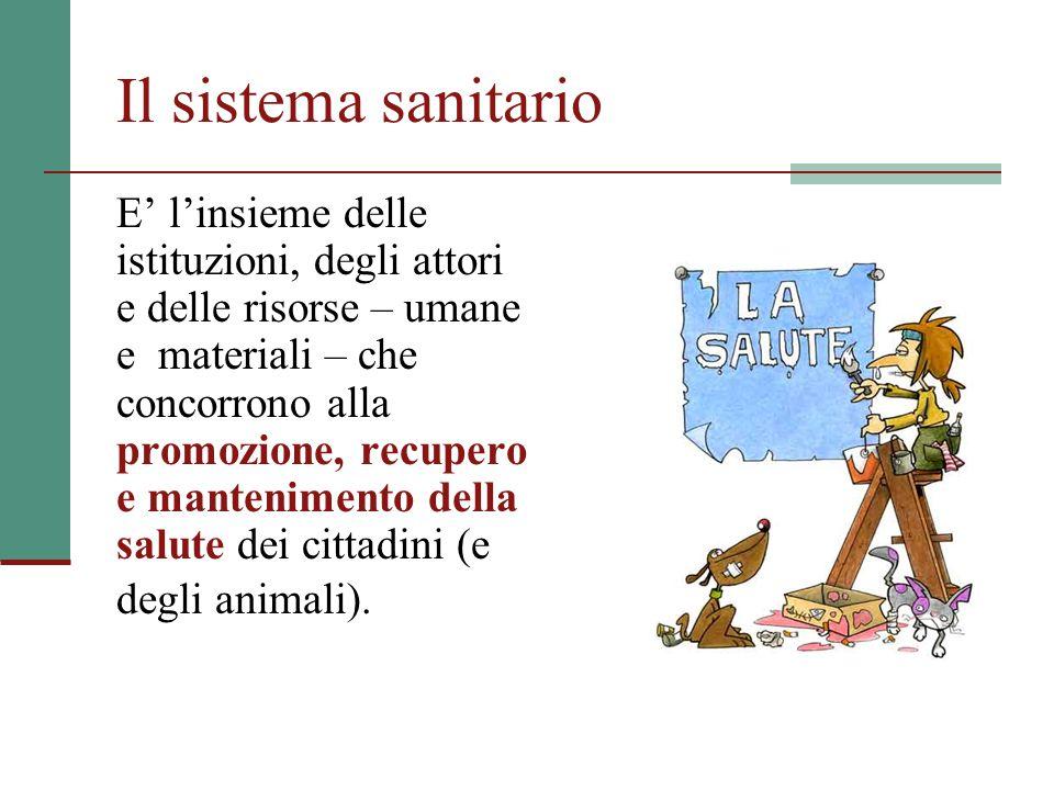Il sistema sanitario E' l'insieme delle istituzioni, degli attori e delle risorse – umane e materiali – che concorrono alla promozione, recupero e mantenimento della salute dei cittadini (e degli animali).