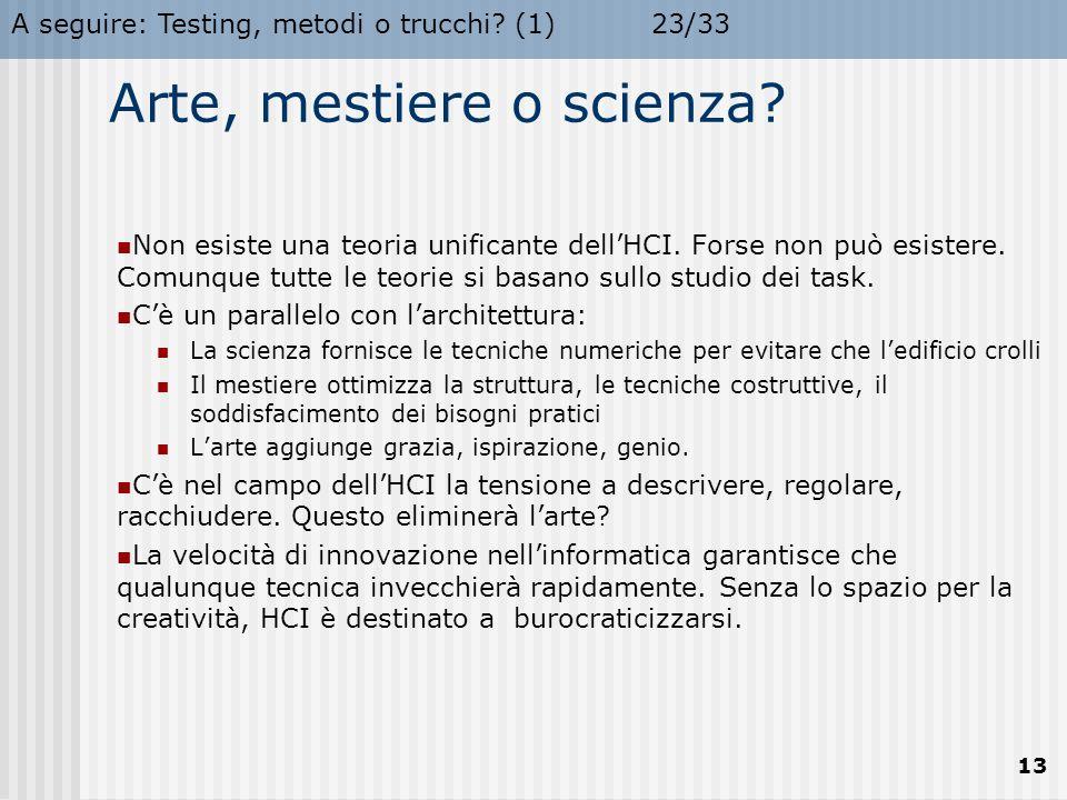 A seguire: Testing, metodi o trucchi.(1)23/33 13 Arte, mestiere o scienza.