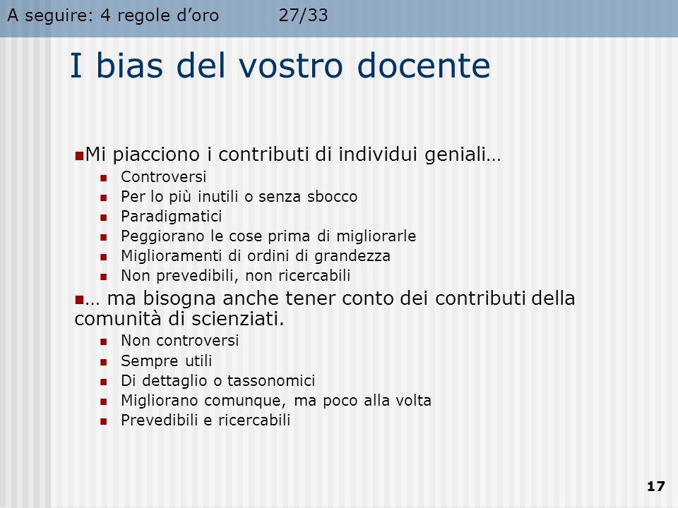 A seguire: 4 regole d'oro27/33 17 I bias del vostro docente Mi piacciono i contributi di individui geniali… Controversi Per lo più inutili o senza sbo