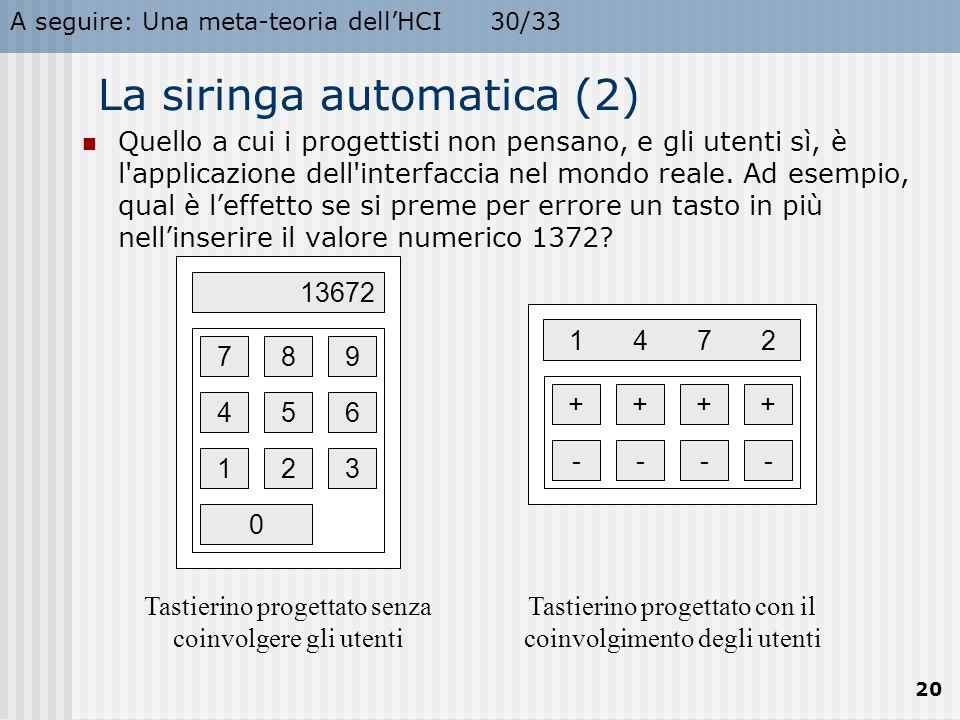 A seguire: Una meta-teoria dell'HCI30/33 20 La siringa automatica (2) Quello a cui i progettisti non pensano, e gli utenti sì, è l'applicazione dell'i
