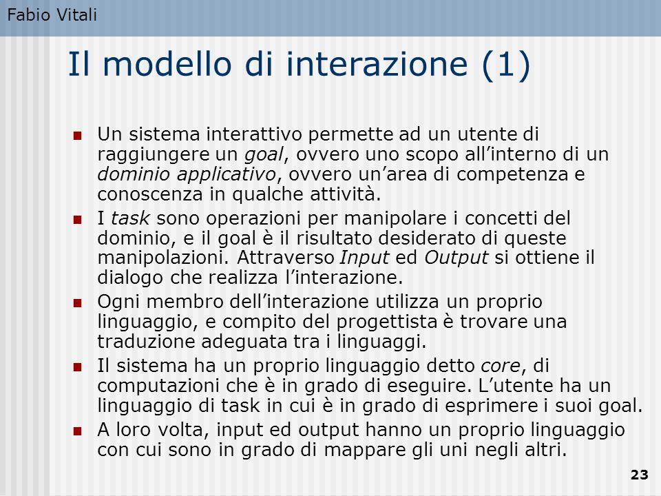 Fabio Vitali 23 Il modello di interazione (1) Un sistema interattivo permette ad un utente di raggiungere un goal, ovvero uno scopo all'interno di un dominio applicativo, ovvero un'area di competenza e conoscenza in qualche attività.