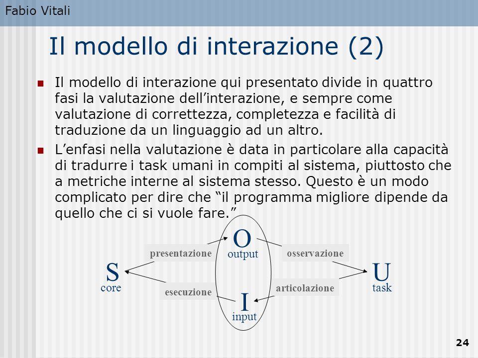 Fabio Vitali 24 SU O I coretask output input esecuzione presentazioneosservazione articolazione Il modello di interazione (2) Il modello di interazione qui presentato divide in quattro fasi la valutazione dell'interazione, e sempre come valutazione di correttezza, completezza e facilità di traduzione da un linguaggio ad un altro.