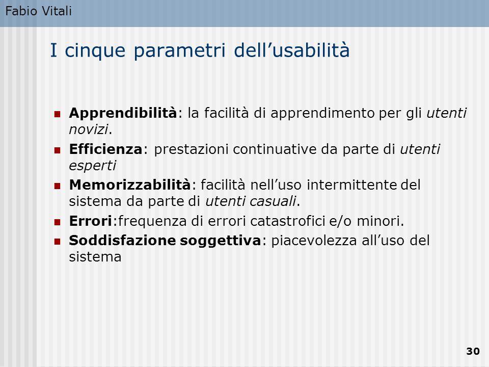 Fabio Vitali 30 I cinque parametri dell'usabilità Apprendibilità: la facilità di apprendimento per gli utenti novizi. Efficienza: prestazioni continua