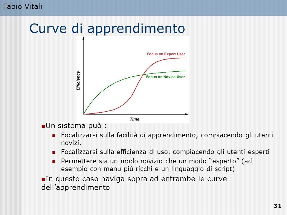 Fabio Vitali 31 Curve di apprendimento Un sistema può : Focalizzarsi sulla facilità di apprendimento, compiacendo gli utenti novizi. Focalizzarsi sull
