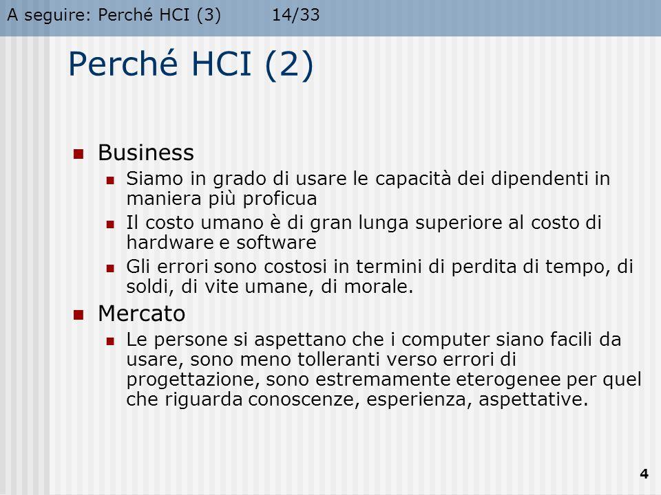 A seguire: Perché HCI (3)14/33 4 Perché HCI (2) Business Siamo in grado di usare le capacità dei dipendenti in maniera più proficua Il costo umano è d