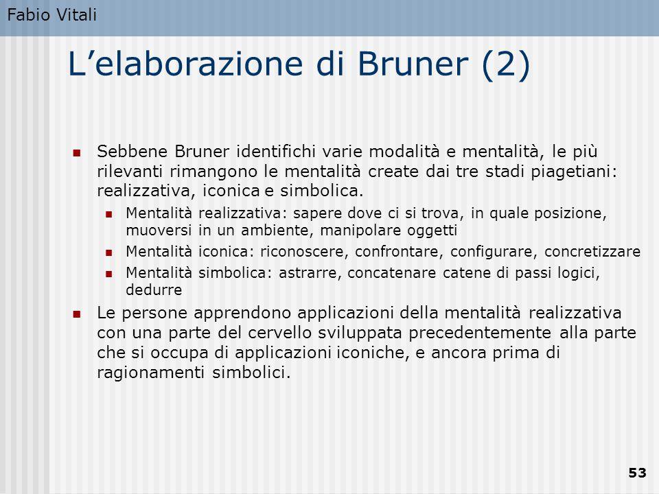 Fabio Vitali 53 L'elaborazione di Bruner (2) Sebbene Bruner identifichi varie modalità e mentalità, le più rilevanti rimangono le mentalità create dai tre stadi piagetiani: realizzativa, iconica e simbolica.