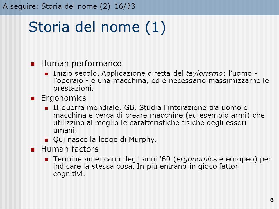 A seguire: Storia del nome (2)16/33 6 Storia del nome (1) Human performance Inizio secolo. Applicazione diretta del taylorismo: l'uomo - l'operaio - è