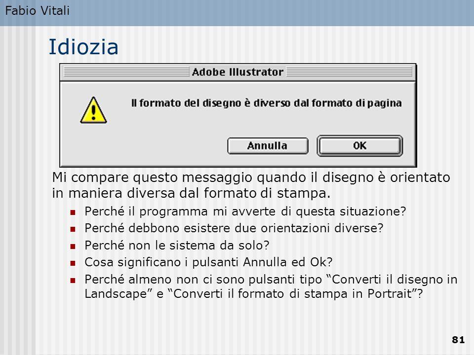 Fabio Vitali 81 Idiozia Mi compare questo messaggio quando il disegno è orientato in maniera diversa dal formato di stampa.
