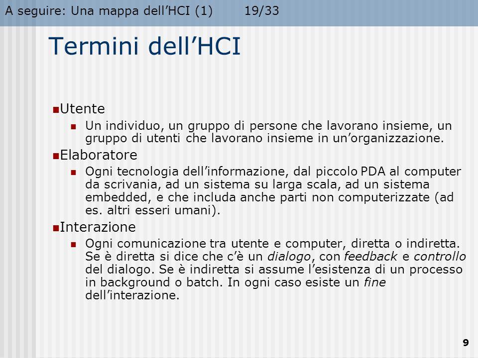 A seguire: Una mappa dell'HCI (2)20/33 10 Una mappa dell'HCI (1) Elaborazione Linguaggio Ergonomia Aspetti sociali Tecniche e tool Linee-guida e case studies Ambiente di lavoro I/O Dialogo Grafica Valutazione