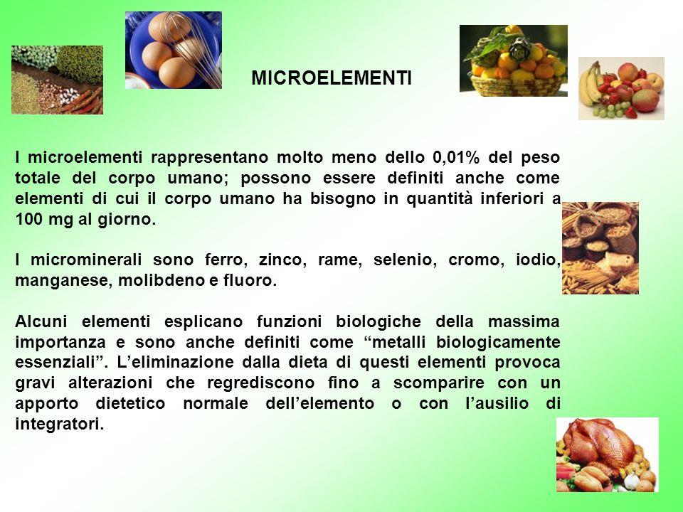 I microelementi rappresentano molto meno dello 0,01% del peso totale del corpo umano; possono essere definiti anche come elementi di cui il corpo uman