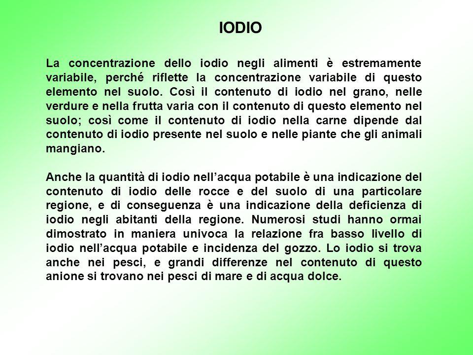La concentrazione dello iodio negli alimenti è estremamente variabile, perché riflette la concentrazione variabile di questo elemento nel suolo. Così