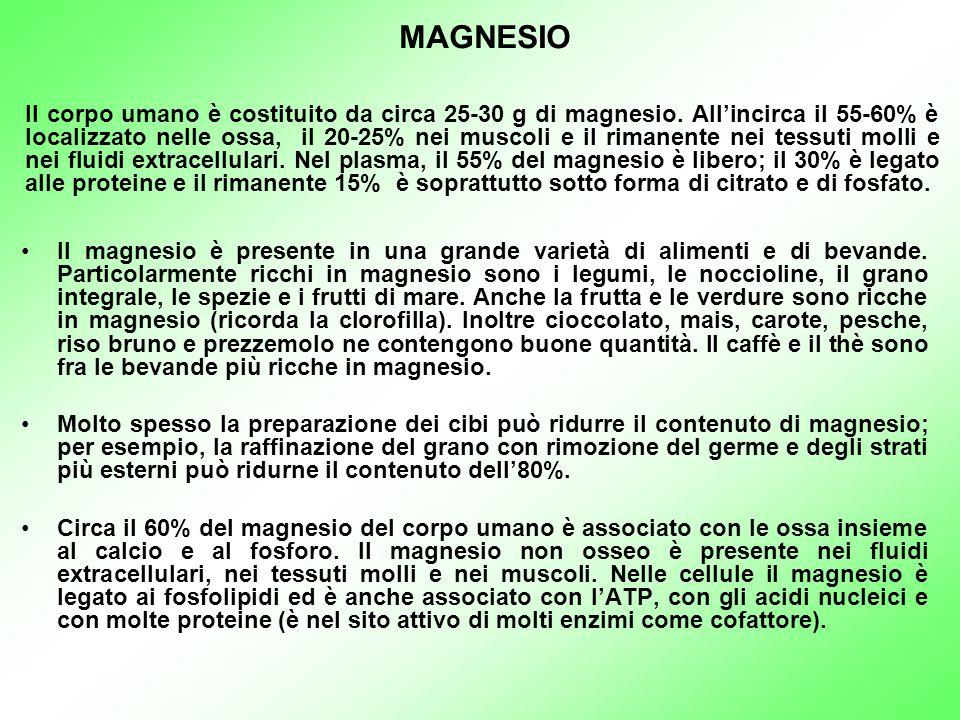 Il magnesio è presente in una grande varietà di alimenti e di bevande. Particolarmente ricchi in magnesio sono i legumi, le noccioline, il grano integ