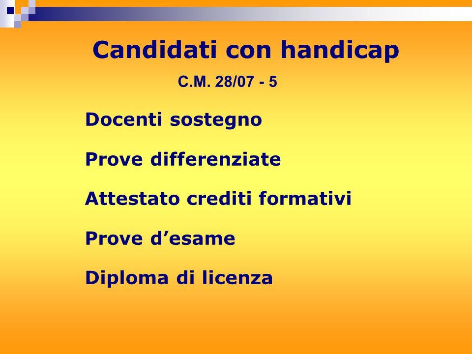 Docenti sostegno Prove differenziate Attestato crediti formativi Prove d'esame Diploma di licenza Candidati con handicap C.M.