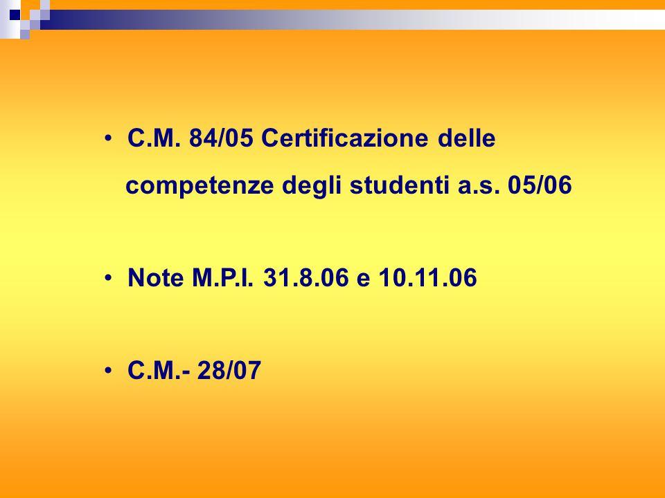 C.M. 84/05 Certificazione delle competenze degli studenti a.s.