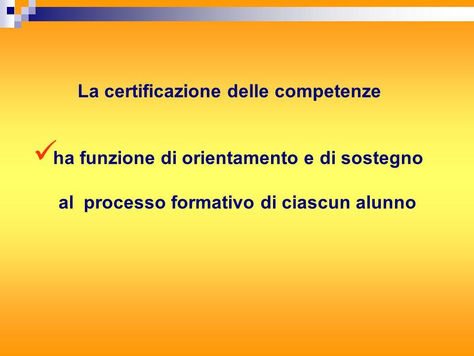 La certificazione delle competenze ha funzione di orientamento e di sostegno al processo formativo di ciascun alunno