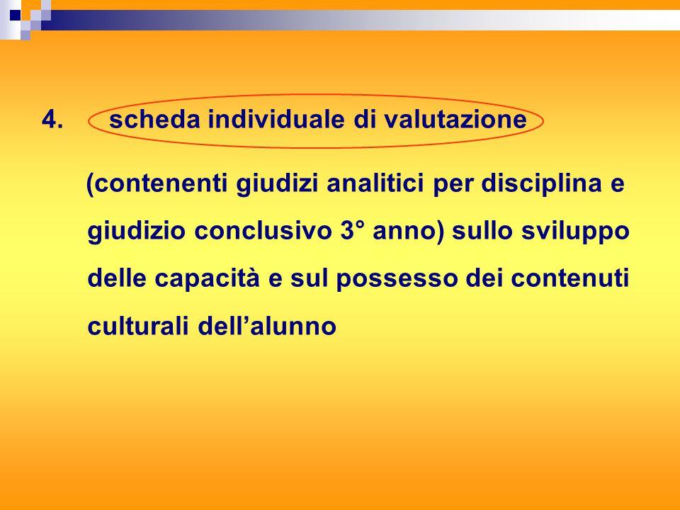 4. scheda individuale di valutazione (contenenti giudizi analitici per disciplina e giudizio conclusivo 3° anno) sullo sviluppo delle capacità e sul p