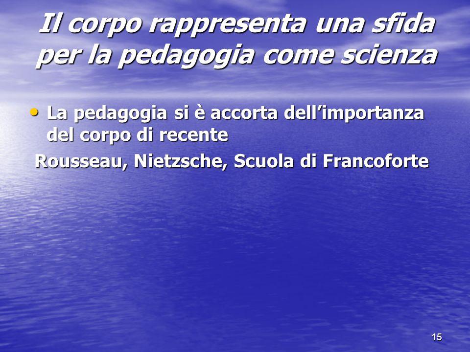 15 Il corpo rappresenta una sfida per la pedagogia come scienza La pedagogia si è accorta dell'importanza del corpo di recente La pedagogia si è accor