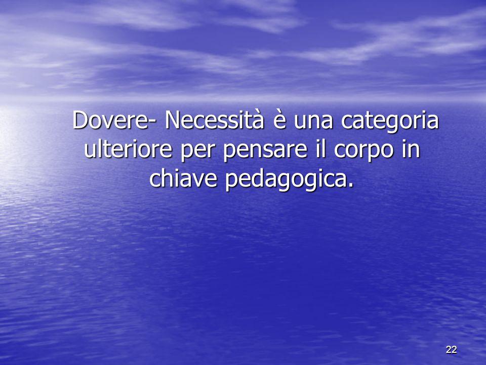 22 Dovere- Necessità è una categoria ulteriore per pensare il corpo in chiave pedagogica. Dovere- Necessità è una categoria ulteriore per pensare il c