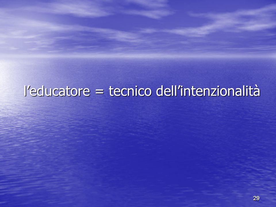 29 l'educatore = tecnico dell'intenzionalità