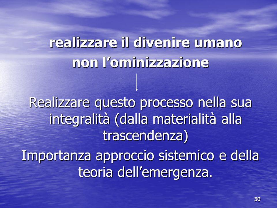 30 realizzare il divenire umano non l'ominizzazione Realizzare questo processo nella sua integralità (dalla materialità alla trascendenza) Importanza