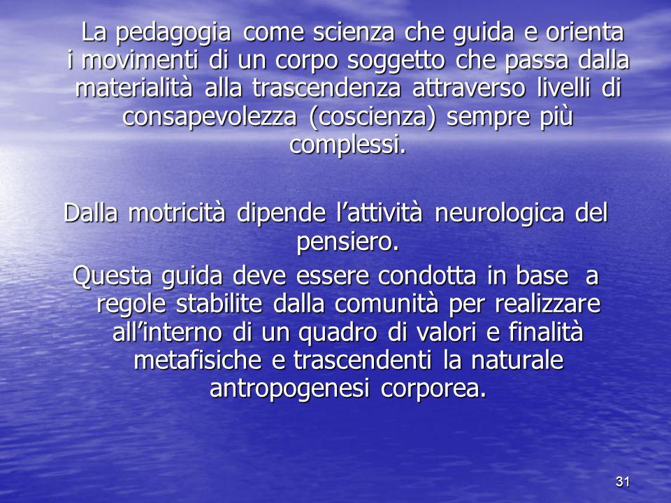 31 La pedagogia come scienza che guida e orienta i movimenti di un corpo soggetto che passa dalla materialità alla trascendenza attraverso livelli di