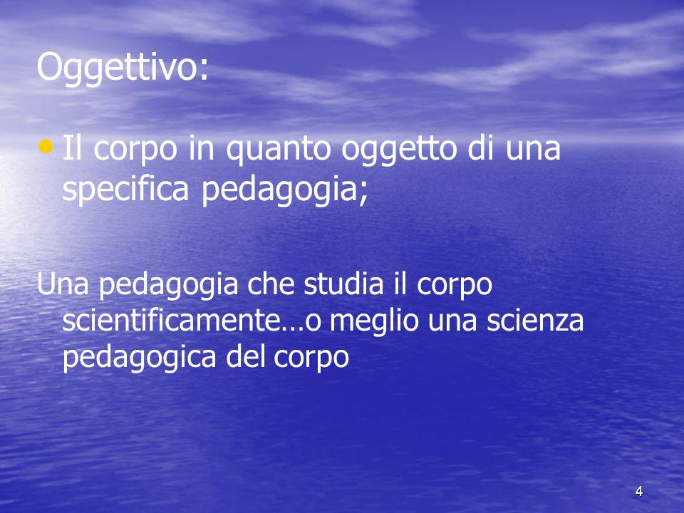 4 Oggettivo: Il corpo in quanto oggetto di una specifica pedagogia; Una pedagogia che studia il corpo scientificamente…o meglio una scienza pedagogica