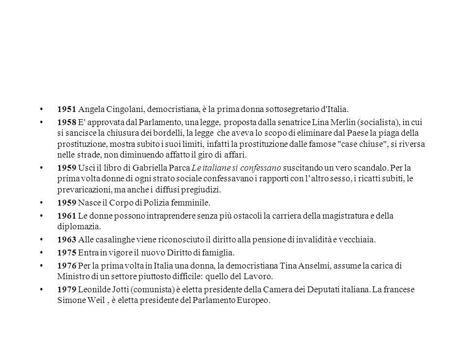 1951 Angela Cingolani, democristiana, è la prima donna sottosegretario d'Italia. 1958 E' approvata dal Parlamento, una legge, proposta dalla senatrice