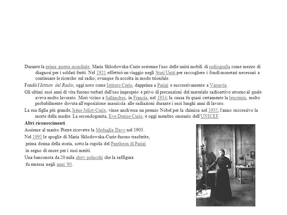 Durante la prima guerra mondiale, Maria Sklodowska-Curie sostenne l'uso delle unità mobili di radiografia come mezzo di diagnosi per i soldati feriti.