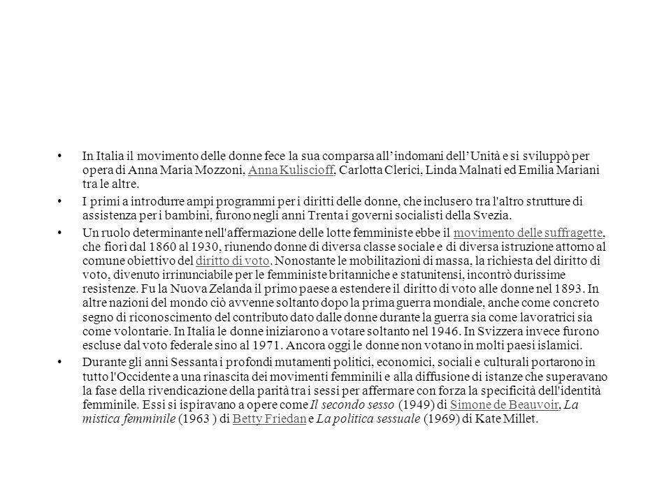 In Italia il movimento delle donne fece la sua comparsa all'indomani dell'Unità e si sviluppò per opera di Anna Maria Mozzoni, Anna Kuliscioff, Carlot